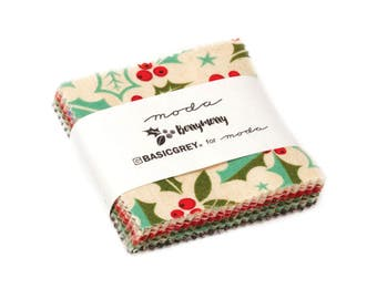 """Moda Berry Merry MINI Charm Pack, (42) 2. 5"""" Quilt Fabric Squares by Basic Grey Quilting Sewing NEW"""