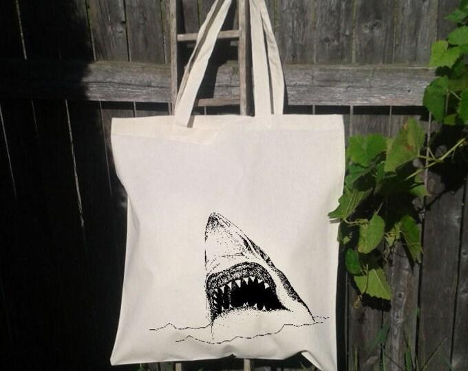 Eco Friendly Canvas Tote Bag - Reusable Grocery Bags - Unique Images - Shark