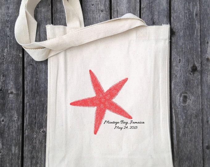 Starfish Wedding Tote, Nautical Wedding Favor  Tropical Wedding Tote, Bachelorette Gift Bag, Hawaiian Flower Favor, Bridal Party Favor