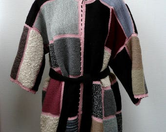 Plus size clothing  Plus Size Cardigan Ready to ship  Oversize Sweater, Women's Clothes Hand knit patchwork