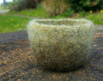 Oh So Tiny Felted Bowl in Shades of Green and Charcoal