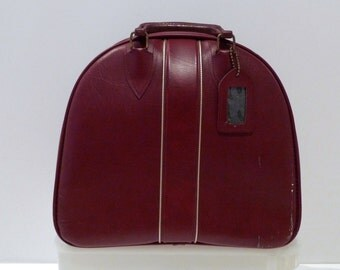 Bowling Ball Bag Vintage Garnet Red Metallic Gold Trim Bowling Tote Bag Vinyl Mod Rockabilly Oversize Carryall Sports Name Tag 1980s 1990s