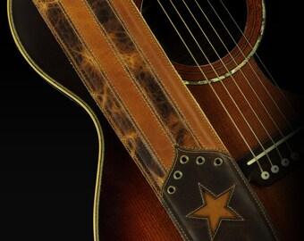Patriotic Guitar Strap, American Flag Guitar Strap:  Rustic Gold Guitar Strap