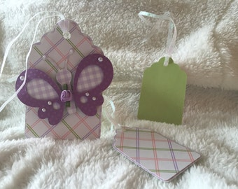 Purple SpringTime Butterfly Gift Tag Set