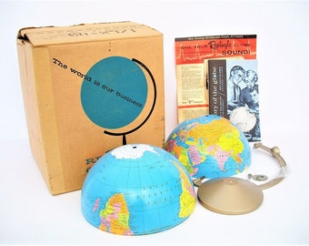 Vintage World Globe NOS in Original Box c1961 Replogle