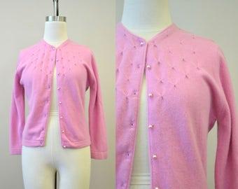 1950s Minklam by Darlene Dusty Rose Cardigan Sweater