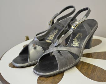 1970s Hushpuppies Gray Suede and Gunmetal Strappy Heeled Sandals