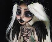 On RESERVE for Iro Payment 2/3 monster high doll custom ooak repaint MH artist saijanide dark gothic skeleton angel of death - Morte