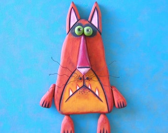 Mr. Gato, Original Wood Wall Sculpture, Wood Carving, Wall Decor, Cat Sculpture, by Fig Jam Studio