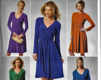 Butterick 5783 DRESS Wrap Tie Front Long Sleeve Sewing Pattern B5783 Size XS, S, M Or a 4, 6, 8, 10, 12 and 14