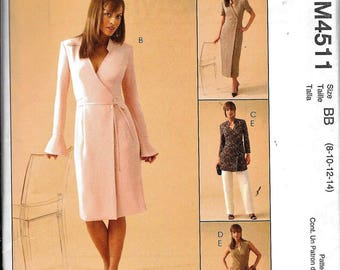 McCall's M4511 Wrap Dress Or Tunic Top And Pants Sewing Pattern UNCUT 4511 Size 12, 14, 16, 18