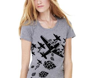 Womens Craft Beer T-Shirt, The Original Droppin' Hops Hop Bomber, Great Christmas Gift for Beer Girl, Oktoberfest Birthday Christmas Gift