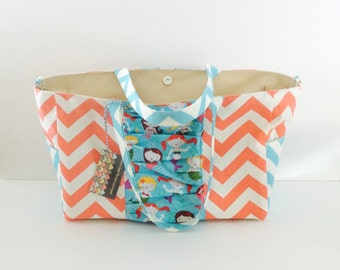 READY TO SHIP Mermaid Diaper Bag, with Waterproof lining, magnetic snap closure, stroller straps