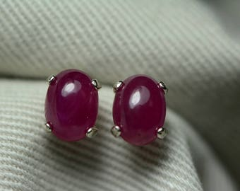 Ruby Earrings, Red Ruby Cabochon Earrings 2.61 Carats Appraised at 1,175.00, July Birthstone, Real Ruby Jewelry, Sterling Silver, Certified