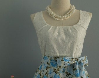 White lace blue floral dress bridesmaid party prom sundress