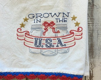 Hand Embroidered Patriotic Canning Towel Red White and Blue