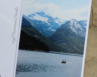 On the Lake Photo Note Card - Lake Como and Mountains - Montana Landscape Photography