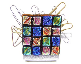"Dichroic Glass Paper Weight / Paper Clip Magnet - Desk Organizer - Blue Pink Orange Gold Rainbow Checkered Dicro Fused Glass - 2"" 50mm Large"