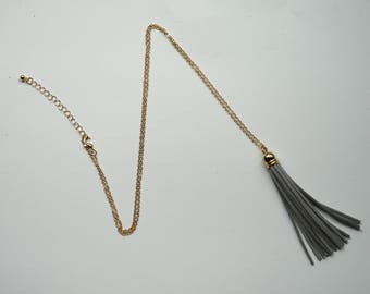 Gray Grey Gold Tassel Necklace Long Pendant Faux Suede Leather