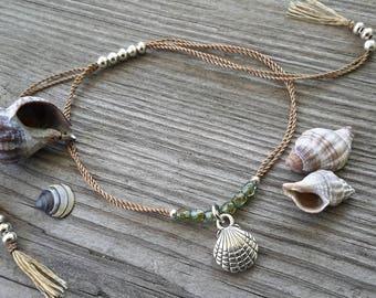 Beach Comber / Silver and Aqua / Seashell / Silk Adjustable Bracelet