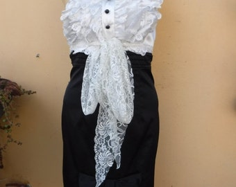 """20%OFF vintage inspired black & white satin,chiffon and lace slip dress/top.....small to 34"""" bust...."""