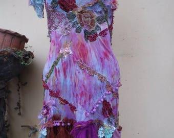 "20%OFF bohemian gypsy lagenlook hippy shabby slip mermaid dress ...smaller to 36"" bust"