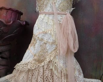 """20%OFF vintage inspired shabby bohemian gypsy dress .large to 46"""" bust..."""