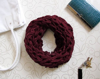 Maroon Knit Scarf, Scarf, Chunky Knit, Infinity Scarf, Knit, Knit Cowl, Knitting