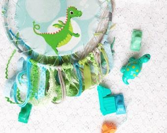 Cute Dragon Dreamcatcher, Kids Room Decor, Green & Aqua, Large Dream Catcher, Baby Boy Room, Dragon Nursery, Playroom Decor