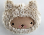 Plush Kawaii Teddy Bear Pillow in Luxury Faux Fur Cream