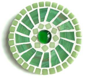 "Mosaic Wall Art, 4"" round mosaic, green dot mosaic decor"
