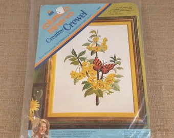 Columbia Minerva Creative Crewel Erica Wilson Butterfly and Blossoms Picture Kit