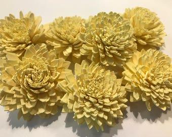 Light Yellow Sola Flowers-- Set of 7 Light Yellow Zinnia  Balsa Flowers. Ready to ship!