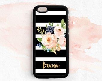 Personalized First Name Watercolor Floral Black and White Stripes iPhone 7 6s Plus 5C 5S SE, Note 3 4 5 Samsung Galaxy S5 S4 S6 S7 Edge NP49