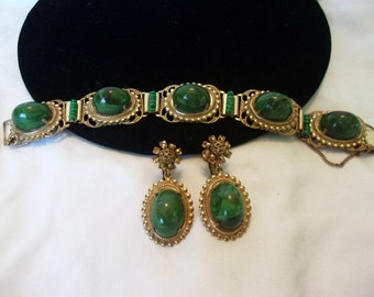 Miriam Haskell Bracelet Earrings Green Cabochon Antiqued Gold Plate Vintage Set Larry Vrba