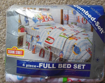 Full Sheet Set, 4 PC Sesame Street, Muppet Characters Print, Fitted, Flat & 2 Cases By American Laifestyle, New Old Stock