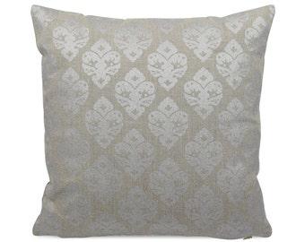 Metallic Shimmery Gray Floral Fleur de Lis Gray Pillow, Glitz Gray Geometric Accent Pillow, Lumbar or Square Sham, Silver Diamond Decor
