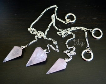Large Pink Rose Quartz Pendulum Pendant on Chain, 33 x 14mm
