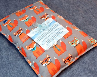 Microwave Heat Pack, Microwave Heating Pad, Large Corn Bag, Bed Warmer, Corn Heated Bag, Hot Cold Pack -- Large 10x14 -- Feeling Foxy