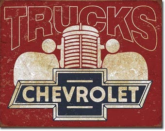 "Chevrolet Trucks vintage style metal sign Chevy trucks 12 1/2"" X 16"""