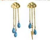 15 Off. Lightning Storm Earrings. English Rain Cloud Earrings. Storm Gemstone Jewelry. Chandelier cloud earrings in gold or silver