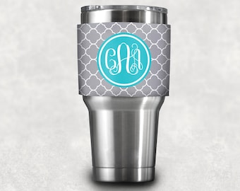 Personalized Coffee Sleeve/ Neoprene Wrap with Monogram- Design your Own - custom Yeti Tumbler Sleeve, coffee lover gift, bridal party gift