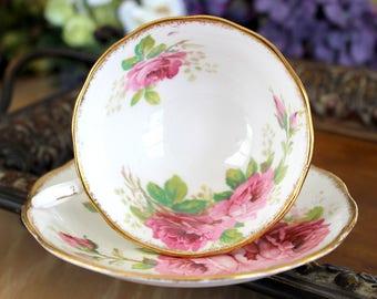 Royal Albert American Beauty, Vintage Teacups, Tea Cup and Saucer, English Bone China 13952
