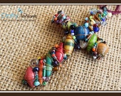 """We Are All in This Together 3.5"""" Beaded Cross (Multi-colored African Magazine Beads wrapped with Copper Wire)"""