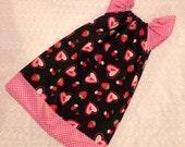 Girls Berry Valentine's Day - Peasant Dress - Black pink red Cherries Strawberries - Pick your size Newborn through 8 years