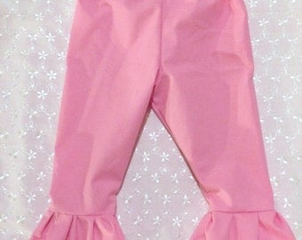 Girls Pink Cotton ruffle pants - sizes 12 Months through 6 Years