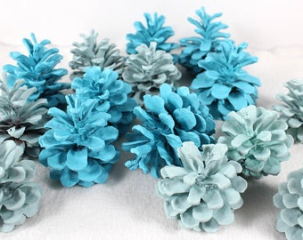 Chalk Paint Pine Cones, Turquoise Pinecones, Wreath Supplies, Nature Craft Supply, Party Decor, Wedding Shower Decor, Colored Pine Cones
