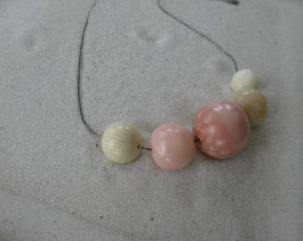SALE! Bermuda Coral, a ReBAUBLED Vintage Beach Necklace Inspired by Pink Sands & SEA Coral Patterns Pink Ivory Cream Blush Chunky Beads Bead