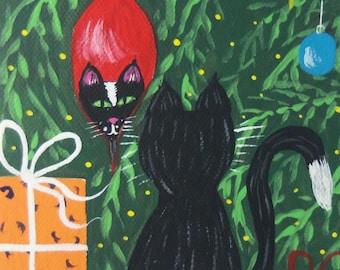 Free Shipping! Original Painting Folk art Folkart Unique Christmas Gift 5''x7''