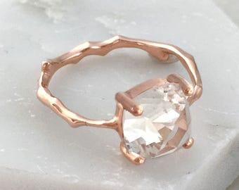 Twig Engagement Ring with Cushion Cut White Topaz November Birthstone